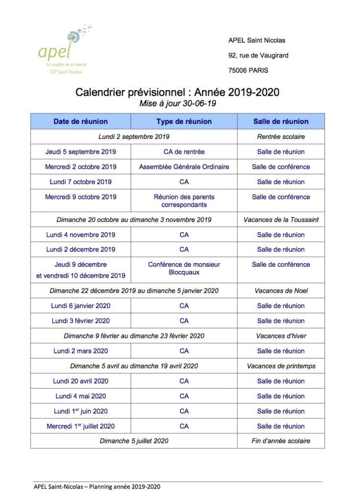 Réunions pour l'année 2019/2020
