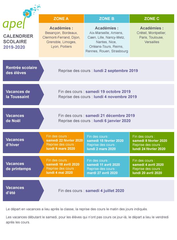 Calendrier vacances scolaires 2020 paris